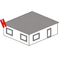 Dachüberstand über den Vorder-/Rückwänden