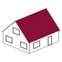 Gestalte ein Modellhaus mit rechteckigem Grundriss und Satteldach<br/>oder einzelne W&auml;nde