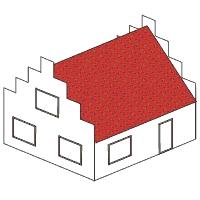 Gestalte ein Modellhaus mit rechteckigem Grundriss, Satteldach und Treppengiebel<br/>oder einzelne W&auml;nde