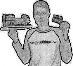 Sven Döhre mit einem Modellhaus in der Hand
