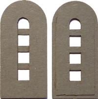 Halbrunde graue Tür mit 4 Fenstern (1:87)
