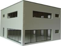 Vergrößern: Modernes Würfelhaus im Maßstab 1:87